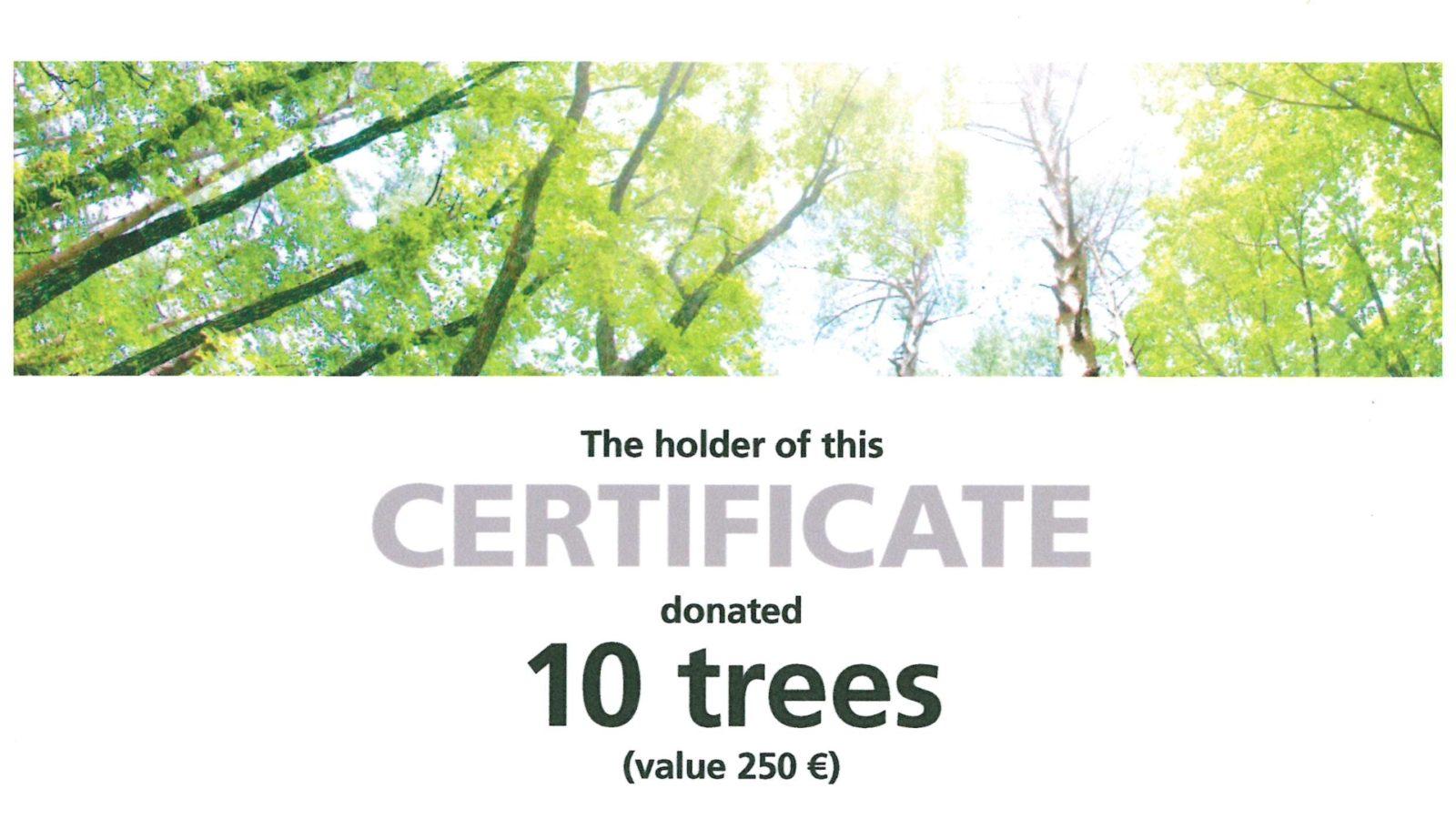 PREUSS MESSE Zertifikat FAMAB Stiftung 10 Baeume